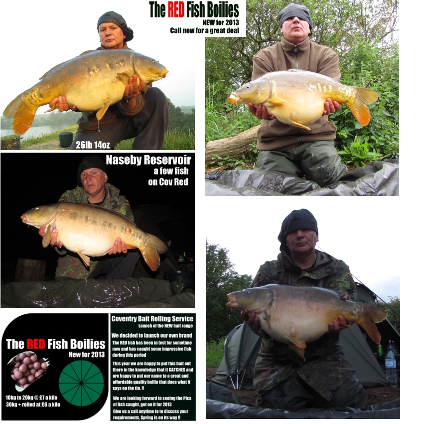 Naseby Reservoir Carp Fish Cov Red Boilies